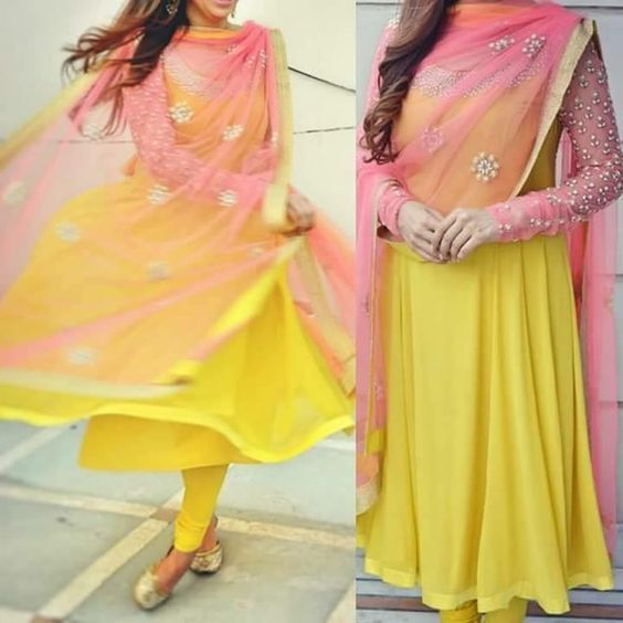 Yellow Bollywood Wedding Partywear FatimaBi Designer Summer Anarkali Dress #FatimaBi #AnarkaliKameez