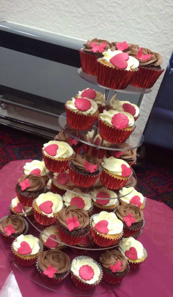 Red cupcake tower