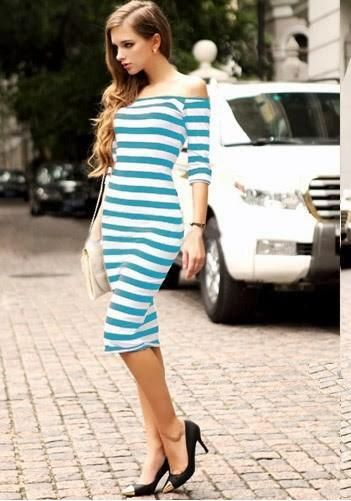 Hot Style Big Yards Stripe Bodycon Dress