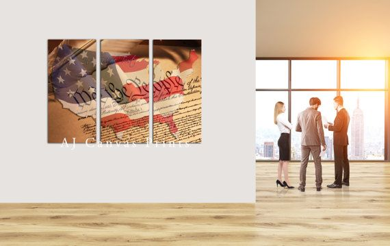 Large American Constitution Flag Canvas Wall Art by AJCanvasPrints