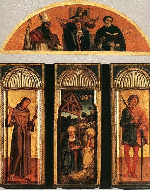 Trittici della carità per l'abside della chiesa della Carità.  1472. Il timpano curvilineo è un ricordo donatelliano