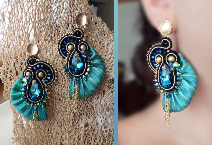 Serena Di Mercione Creation earring, soutache with shibori