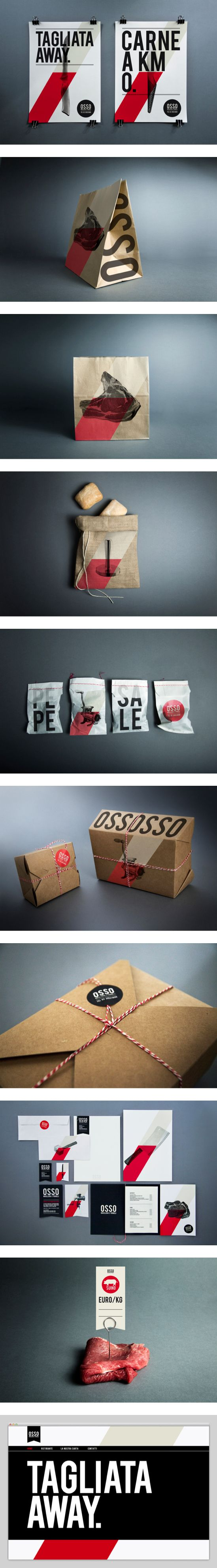 OSSO, a butcher shop in Milan, by Luca Fontana. Nice packaging and branding, application to all mediums is well thought out. I like it a lot!