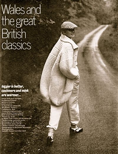 Looking back at Winter 1977- Take cover in an oversized Aran-style cardigan by Paul Howie.
