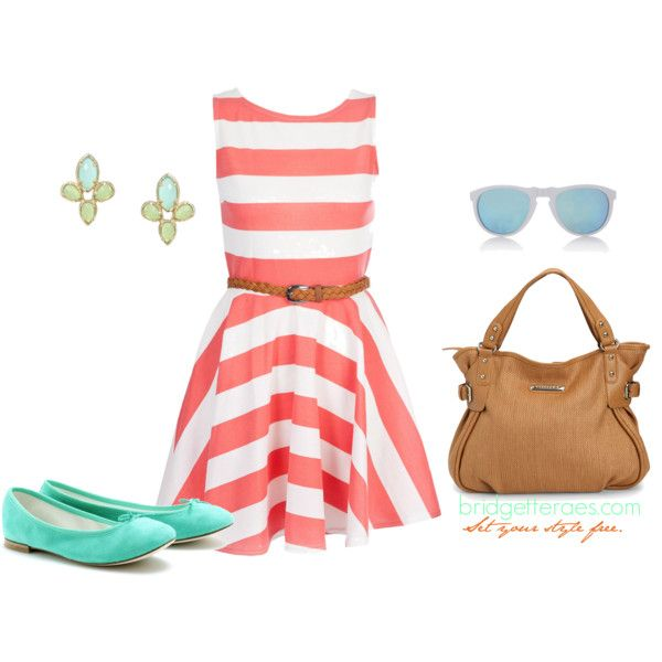Striped Summer...to die!!Summer Dresses, Coral, Fashion, Summer Outfit, Style, Clothing, Polyvore, Create, Dreams Closets