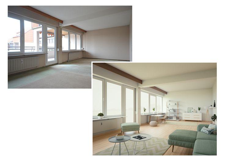 Best  virtuelles Homestaging Wohnzimmer im pastellgr nen skandinavischen Look Um diesen Raum hell und freundlich erscheinen zu lassen haben wir uns f r ein