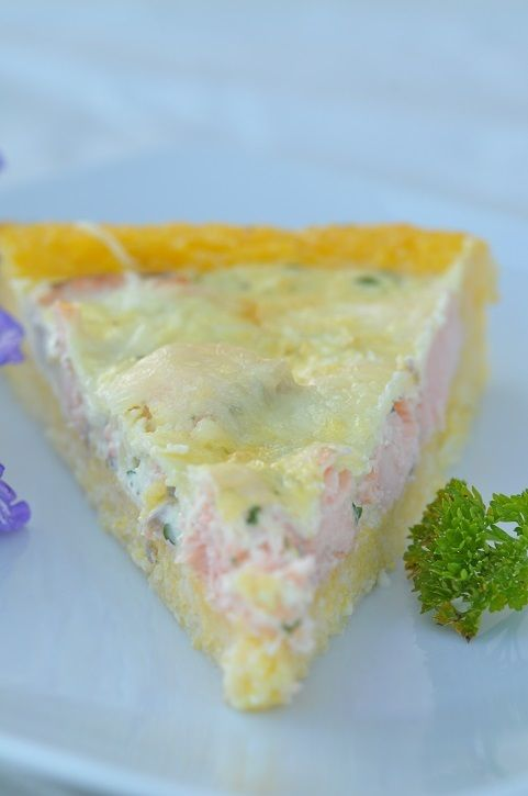 Quiche de polenta au saumon                                                                                                                                                                                 Plus