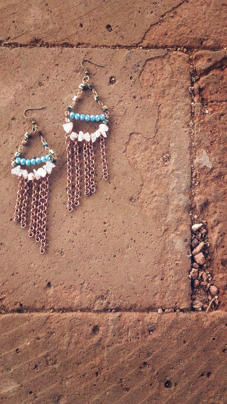 Chandelier in stile navajo con svarowski turchesi e quarzo rosa di VeniceStyle su Etsy