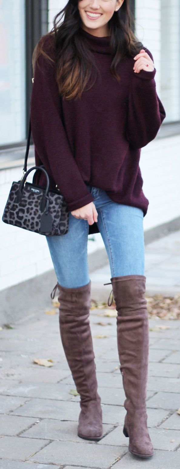 Most perfect flat over-the-knee taupe boots for under $130!! Paired with skinny jeans and oversized burgundy turtleneck sweater for the ultimate casual fall outfit! #fallfashion #fashionblogger #overtheknee #otkboots