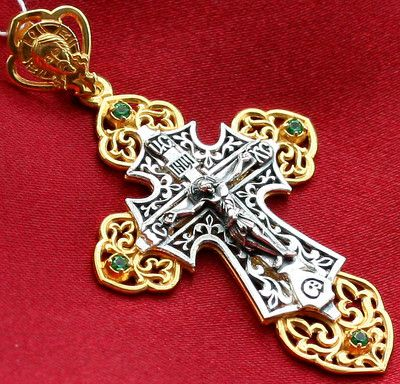 BIG Russian Orthodox Icon Cross Silver Gold NEW Rare ...