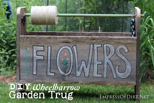 Make a handy-dandy garden trug from scrap wood. This one fits over a wheelbarrow and is a back-saver during garden chores. Can also be used as a flower planter.