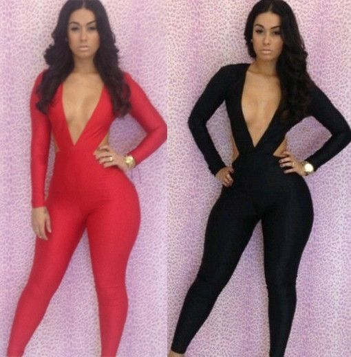 New Arrival 2014 Spring Sexy Club Women Jumpsuits Fashion Bandage Bodycon Overalls For Women Black and Red Jumpsuit $20.00