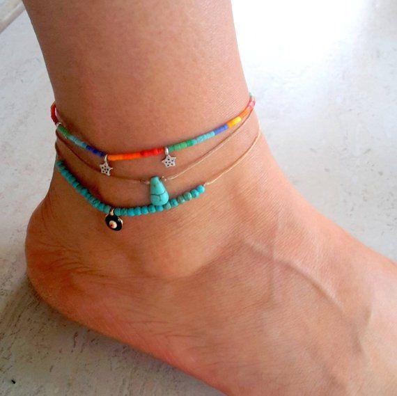 turquoise anklet, Evil eye anklet,foot bracelet, Adjustable anklet, Gift,beach,summer jewelry