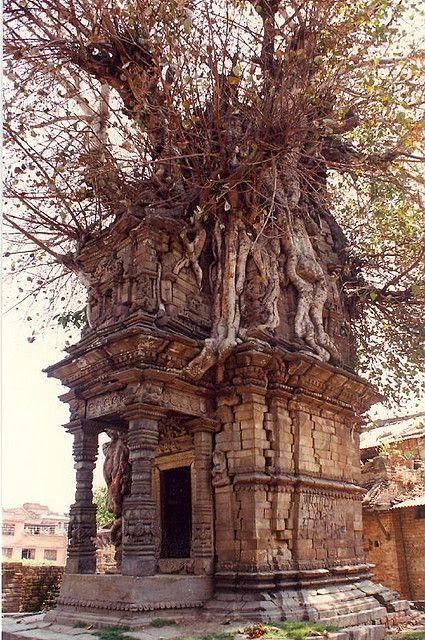 Aged with beauty abandoned ancient architecture Katmandu, Nepal
