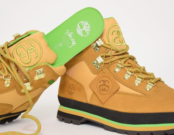 #Timberland Euro Hiker Stussy Wheat Green #sneakers