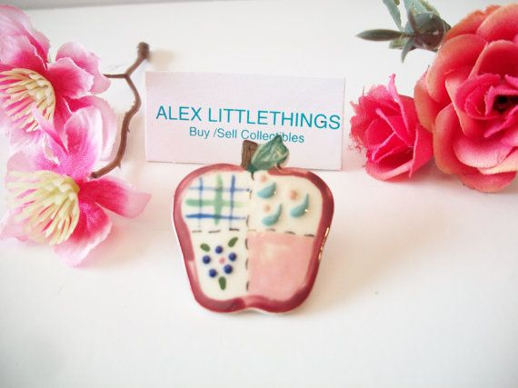 Patchwork Apple Lapel Pin Tie Tac Ceramic by ALEXLITTLETHINGS