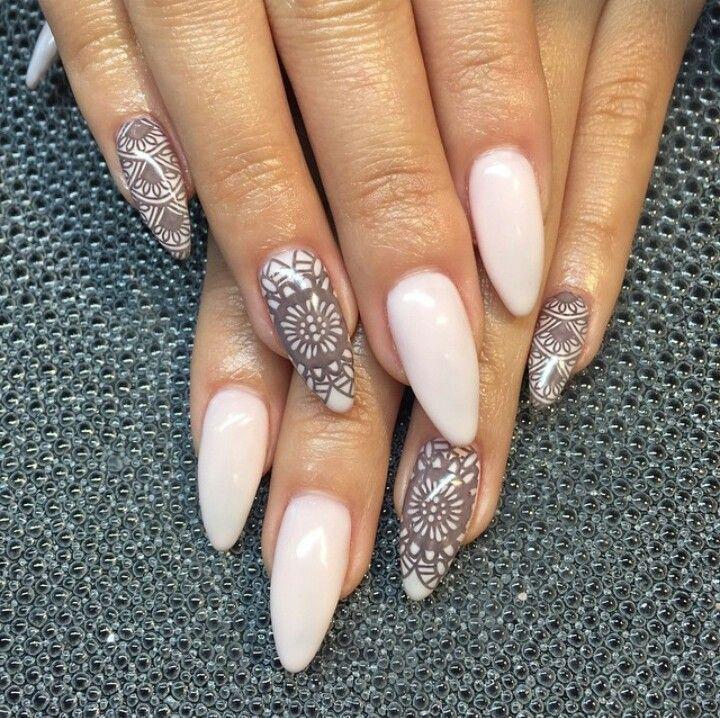 How Make Mehndi For Nails : Teana nails henna inspired almond shape acrylic