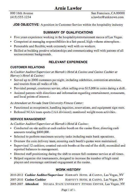 hospitality  job resume samples customer service resume