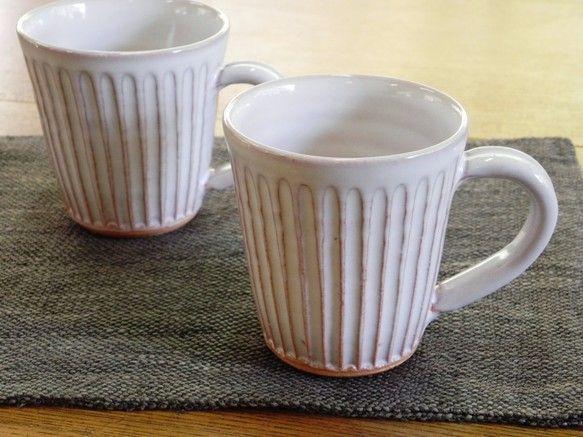 しのぎマグカップ(白)|グラス・カップ|土和窯(つちわがま)|ハンドメイド通販・販売のCreema