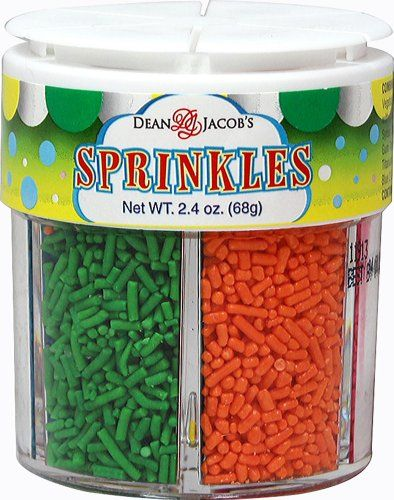Dean Jacob's Sprinkles Jar-2.4 Jar. Sprinkles are fun and festive toppings for your cookies, cakes and cupcakes. This six sprinkle container gives a variety of decorating options: Pink, Orange, Red, Green, Yellow, and Blue.