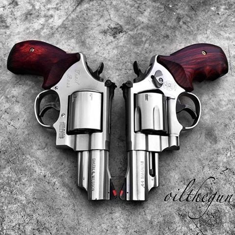 regram @boss_weapons Twin Smith and Wesson 44 magnum revolvers. Photo: @oilthegun #sm #revolver ...