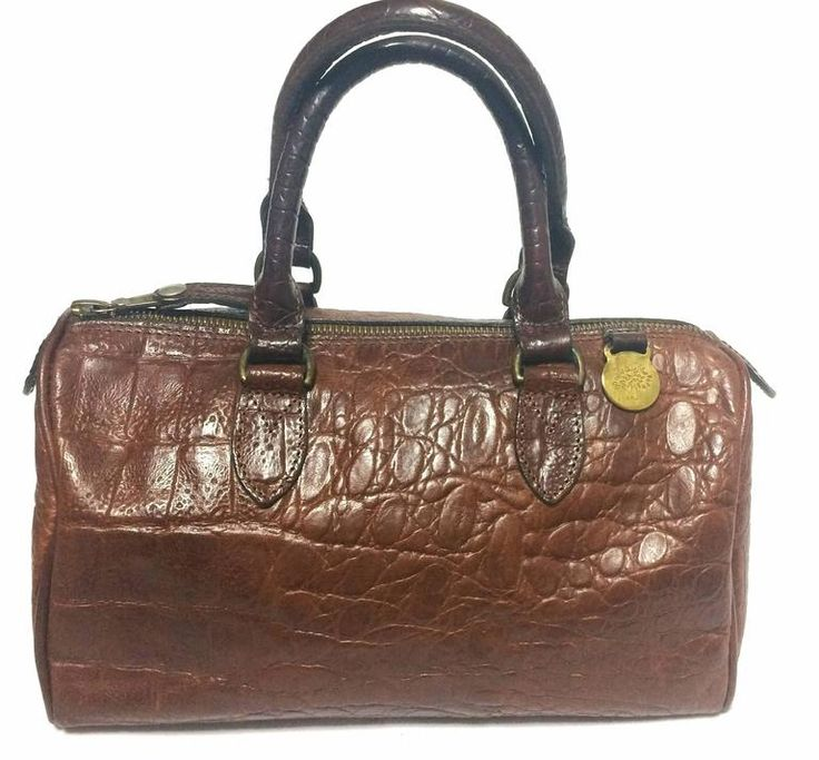 Vintage Mulberry brown croc embossed leather mini handbag by Roger Saul. 1990