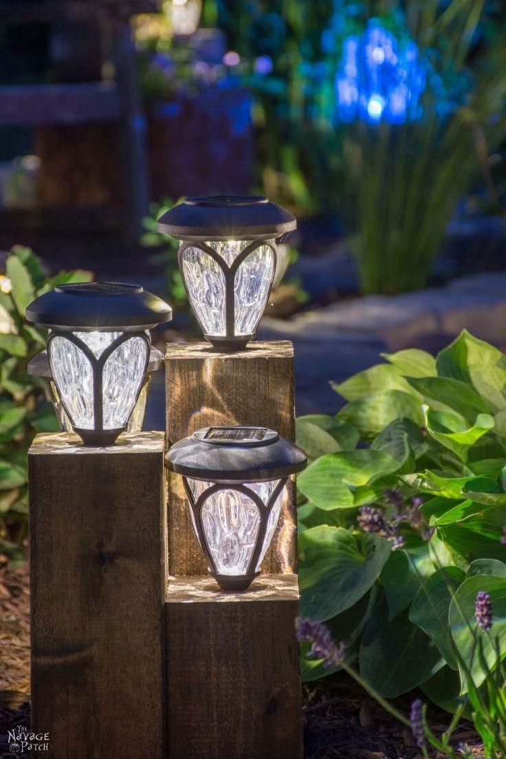 DiY Cedar Cube Landscape Lights - TheNavagePatch.com. Also tells you how to revive solar lights.