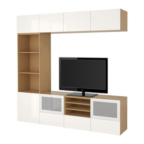 BESTÅ TV storage combination/glass doors - oak effect/Selsviken high-gloss/white frosted glass, drawer runner, soft-closing - IKEA