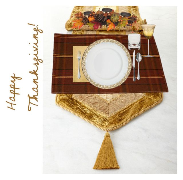 """thanksgiving table for one"" by ktina-martinez ❤ liked on Polyvore featuring interior, interiors, interior design, thuis, home decor, interior decorating, Rennie & Rose, Waterford, Caskata en Versace"