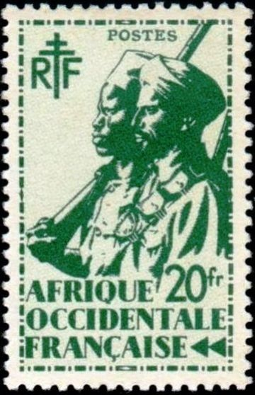 French West Africa 1945 Definitives - Colonial Soldiers | Designed by : Edmond Dulac