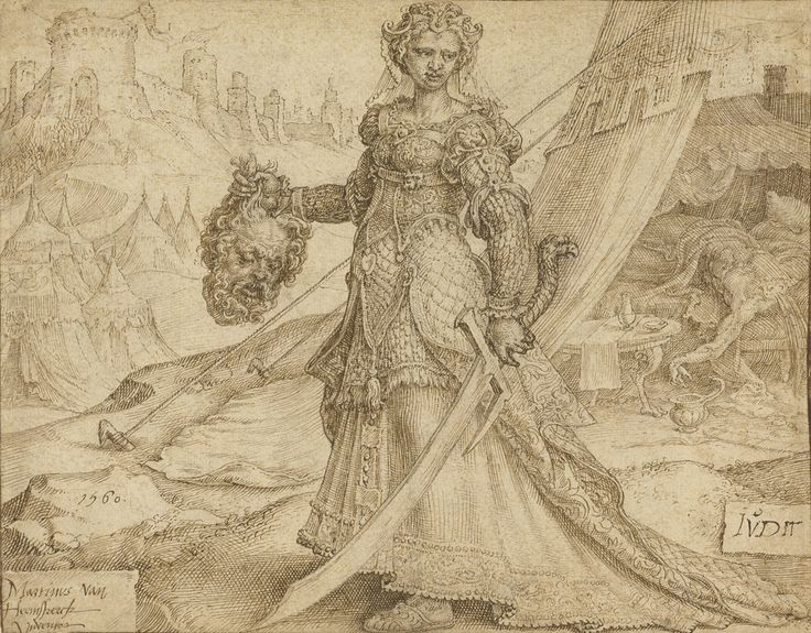 Old Testament Heroine Judith At Her Moment Of Triumph Holding Up The Decapitated Head Of