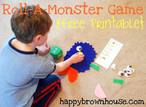 Roll-a-Monster Game {Free Printable} from Happy Brown House