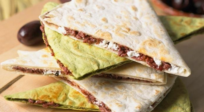 Quesadillas with Olives and Goats' Cheese
