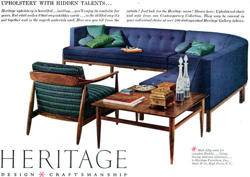 Heritage Mid-Century Modern Furniture Contemporary Collection 1958 Magazine  Ad