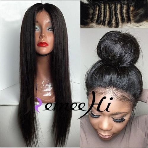 Halo!  Silk Straight 100% Remy Human Hair Lace Front /Full Lace Wig Baby  Hair #RemeeHi #FullWig