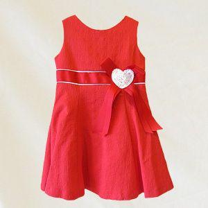 Vestido de niña rojo corazón