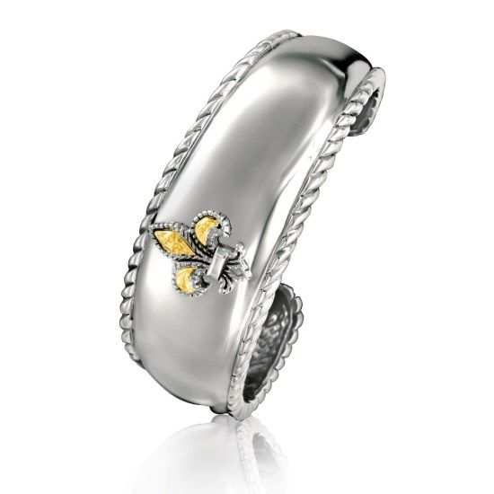 Sterling Silver & 18k gult guld Fleur De Lis cuff armband