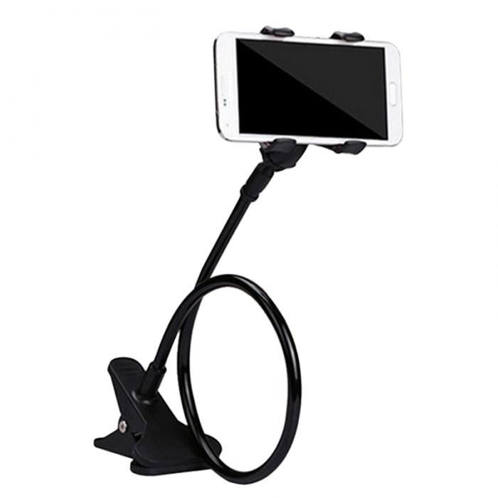 360 Degree Rotating Flexible Phone Holder. Hands-free / 360 Degree Long Arm Rotating Flexible Phone/Tablet Holder Features: 1. Perfect for view phone & enjoy music & phone games on bed, desk, car, beside sofa, workout equipment, etc.  2. 360 degree rotating flexible gooseneck rotating clamp - adjustable holder to view your device at any angle or orientation while driving.    3. Stick-on pad + clip mount on car, desk, windshield, dashboard, table for all phones    4. Heavy...