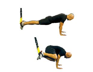 TRX Atomic Oblique Push-up Ground Facing Away  A very demanding core exercise that places tremendous strength and stabilization demands on chest, obliques and hip stabilizers.  Tips: Fully execute each move (pushup and crunch) with good form. Tuck knees close to elbow for crunch. Perform on both sides.  Adjustment: L  Advanced Strength Exercises | TRX Advanced Suspension Training
