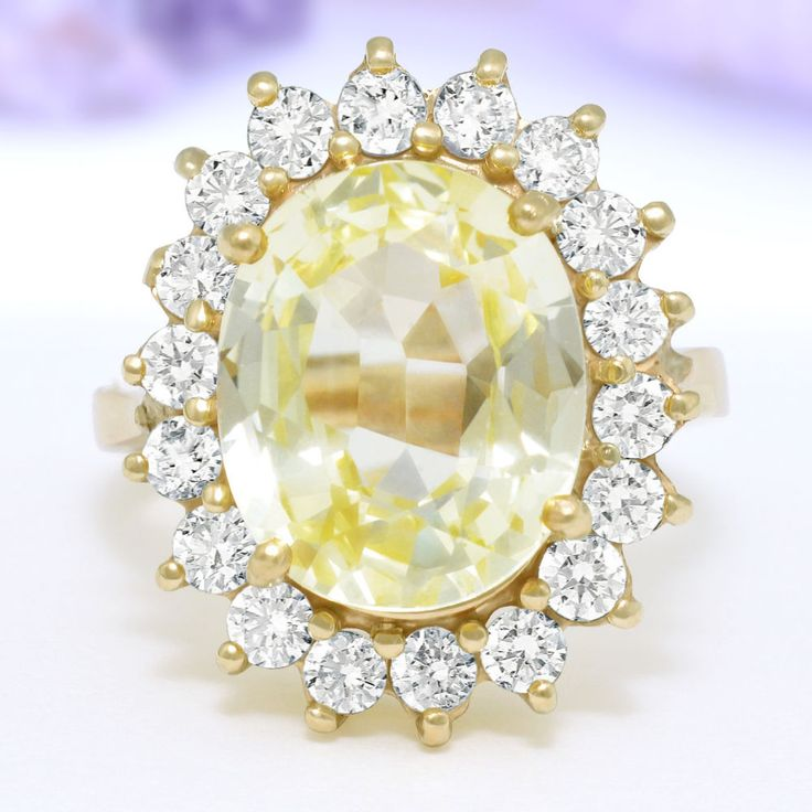 8 28 Carat Ct Estate Ring Natural Diamonds Sapphire 14k Solid Yellow Gold | eBay