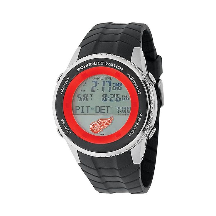 Game Time Detroit Red Wings Silver Tone Digital Schedule Watch - NHL-SW-DET - Men, Black