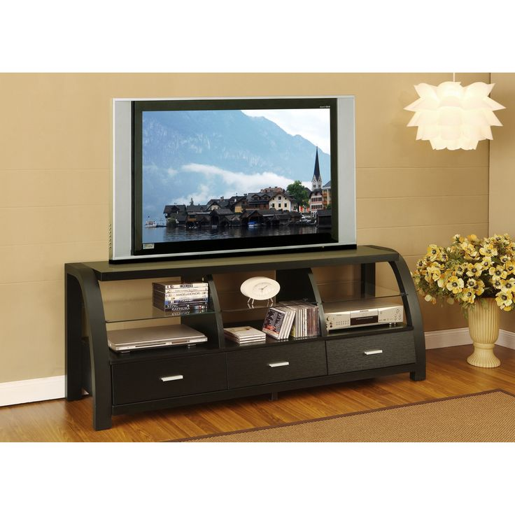 60 Tv Entertainment Center Part - 50: Grove Black 60-inch 3-drawer TV Entertainment Cabinet | Overstock.com