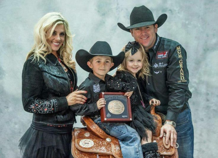 ❦ The Braziles: Wife, Shada, Barrel Racer also competing at the 2013 NFR: came in #12 on day 1, time 14.44. Day 1 Trevor Brazile, Decatur, Texas & Patrick Smith, Lipan, Texas, came in 6th in Team Roping with a score of 5.3,. Also, Trevor on tied for 7th in tie down roping, tied with Randall Carlisle, Baton Rouge, La. Time: 8.1.   With their lovely children Treston and Stella. (Photo via Offical NFR Experience)
