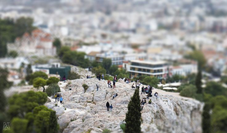 Tiny miniature people - Photo taken from the Acropolis of Athens in Greece using Miniature faking effect.
