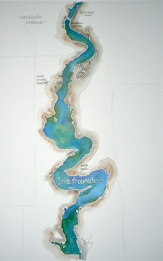 Grand Scale, Custom Watercolor Map of Your Favorite Lake, Bay, or Island 14x20