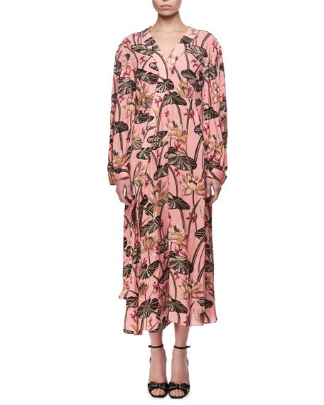 LOEWE Printed Long-Sleeve Midi Dress, Pink/Black. #loewe #cloth #