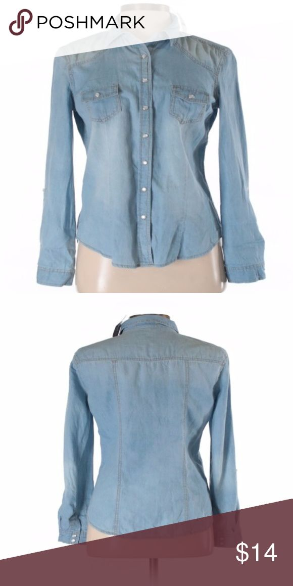 "Ladies Denim Shirt Blue Asphalt Long Sleeve Button-Down Shirt Size   Long sleeve Blue Chambray fabric  Measurements 28"" Chest, 25"" Length  Materials 100% Cotton butt  Condition This item is brand new with tags Blue Asphalt Tops Button Down Shirts"