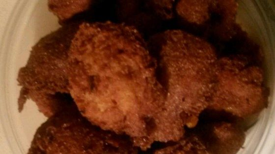 These quick and easy hush puppies use corn muffin mix and are nicely spiced with garlic and onion powder.