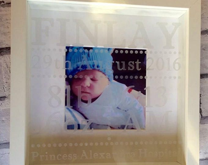 New Baby Personalised Photo Box Frame with Baby Name Date Of Birth - Baby Gift, Christening Gift, New Baby, Mum Present