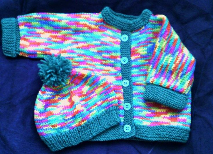 Multi colored cardigan and matching hat. Size 0 - 1. $23.00 plus postage
